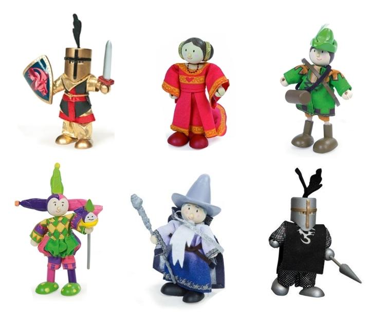 Reyes, reines y caballeros articulados de juguete