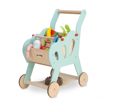 Carro de la compra de juguete de madera