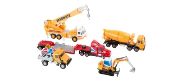 Excavadoras y camiones juguete