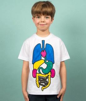 Camiseta con órganos para pintar